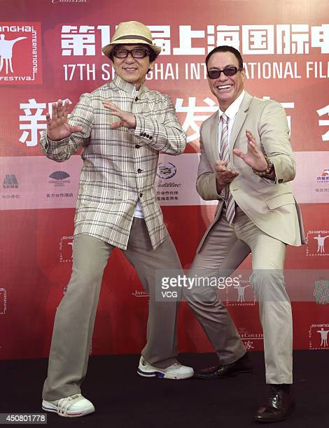 Actors Jackie Chan and JeanClaude Van Damme attend Jackie Chan Action Movie Gala press conference at Crowne Plaza Hotel during the 17th Shanghai...