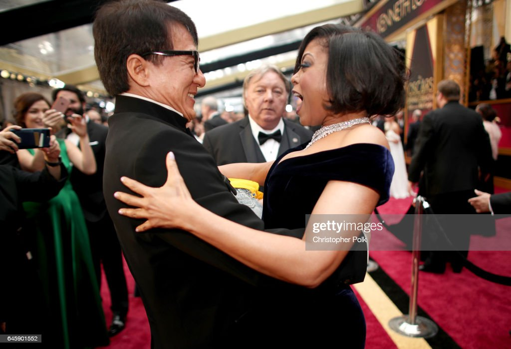Actors Jackie Chan (L) and Taraji P. Henson attend the 89th Annual Academy Awards at Hollywood & Highland Center on February 26, 2017 in Hollywood, California.