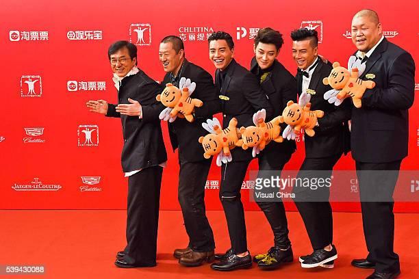 Actors Jackie Chan, Ding Sheng, Darren Wang, Tao Huang, Wu Yonglun and Sang Ping arrive for the red carpet of the 19th Shanghai International Film...