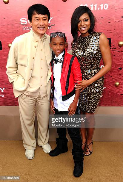 Actors Jackie Chan Jaden Smith and Taraji P Henson arrive to premiere of Columbia Pictures' The Karate Kid after party held at Mann Village Theatre...