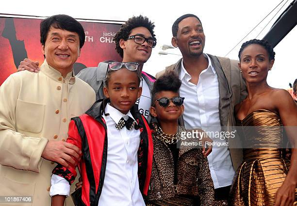 Actors Jackie Chan Jaden Smith Trey Smith Willow Smith singer Will Smith and wife actress Jada Pinkett Smith arrive to premiere of Columbia Pictures'...