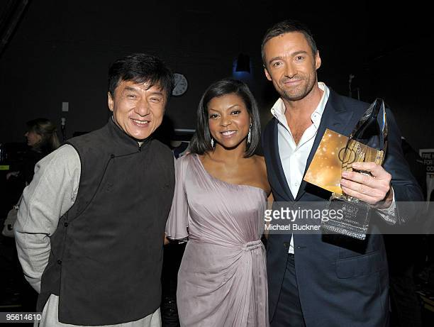 Actors Jackie Chan Taraji P Henson and Hugh Jackman backstage during the People's Choice Awards 2010 held at Nokia Theatre LA Live on January 6 2010...