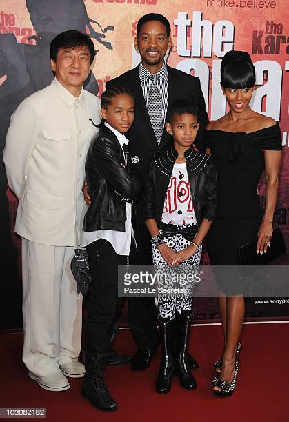 Actors Jackie Chan Will Smith Jaden Smith Willow Smith and Jada Pinkett Smith pose as they attend The Karate Kid film premiere at Le Grand Rex on...