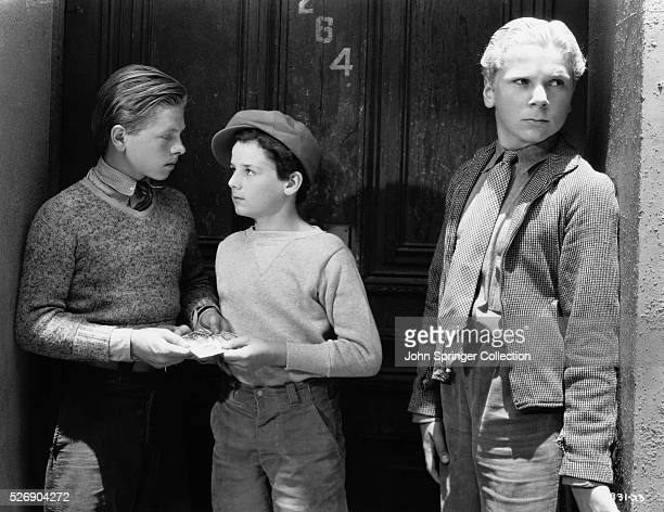 Actors Jackie Cooper as Buck Murphy Freddie Bartholomew as Claude 'Limey' Pierce and Mickey Rooney as Gig Stevens in the 1936 motion picture The...