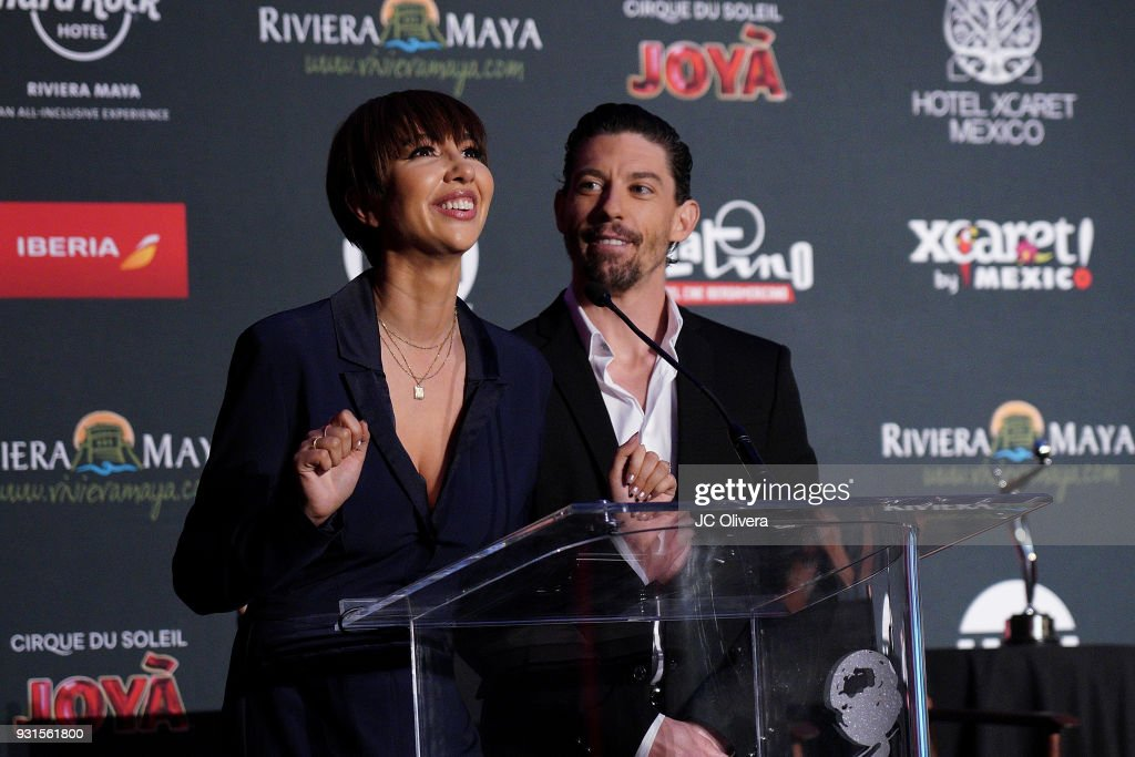 Actors Jackie Cruz (L) and Adrian Lastra speak during the 5th Annual Premios PLATINO Of Iberoamerican Cinema Nominations Announcement at Hollywood Roosevelt Hotel on March 13, 2018 in Hollywood, California.