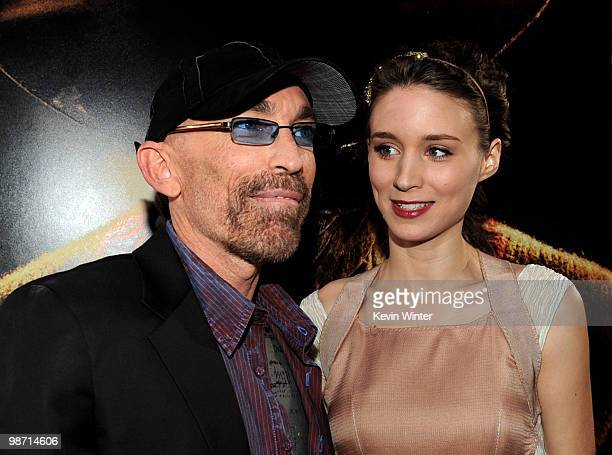 Actors Jackie Earle Haley and Rooney Mara pose at the premiere of New Line's A Nightmare on Elm Street at the Chinese Theater on April 27 2010 in Los...