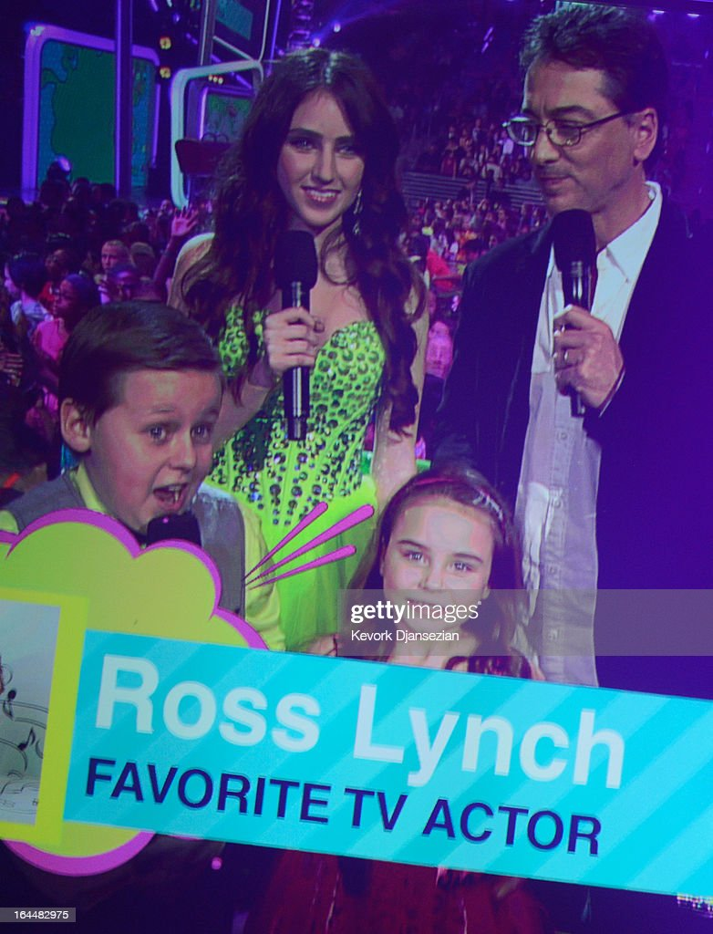 Actors Jackson Brundage, Ryan Newman, Scott Baio and Bailey Michelle Brown present the Favorite TV Actor Award during Nickelodeon's 26th Annual Kids' Choice Awards at USC Galen Center on March 23, 2013 in Los Angeles, California.