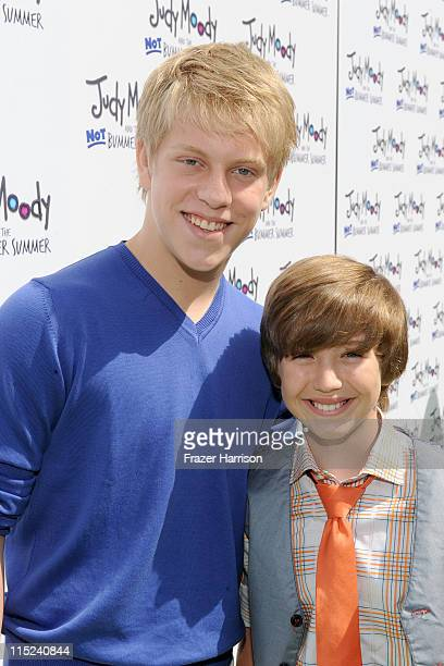 Actors Jackson Odell and Garrett Ryan arrive at the premiere of Relativity Media's Judy Moody And The NOT Bummer Summer held at ArcLight Hollywood on...