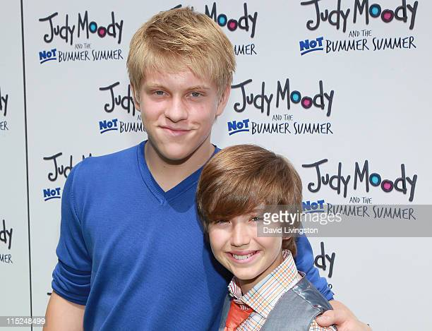 Actors Jackson Odell and Garrett Ryan attend the premiere of Relativity Media's Judy Moody and the NOT Bummer Summer at ArcLight Hollywood on June 4...
