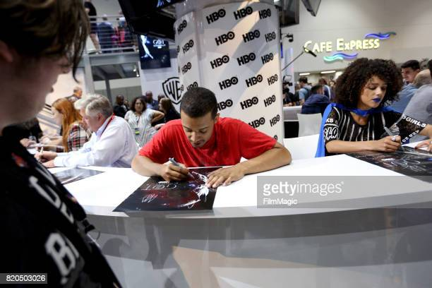 Actors Jacob Anderson and Nathalie Emmanuel at the 'Game of Thrones' autograph signing with HBO at San Diego ComicCon International 2017 at San Diego...