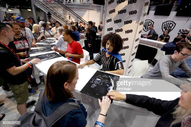 Actors Jacob Anderson Nathalie Emmanuel and Isaac Hempstead Wright at the 'Game of Thrones' autograph signing with HBO at San Diego ComicCon...