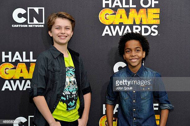 Actors Jacob Hopkins and Terrell Ransom Jr attend Cartoon Network's fourth annual Hall of Game Awards at Barker Hangar on February 15 2014 in Santa...