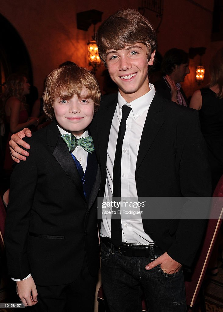 Actors Jacob Rhodes (L) and Sean Michael Cunningham attend the premiere of Walt Disney Pictures' 'Secretariat' after party at the on September 30, 2010 in Hollywood, California.