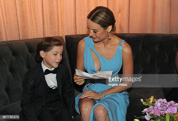 Actors Jacob Tremblay and Brie Larson rehearse their speech at the 22nd Annual Screen Actors Guild Awards at The Shrine Auditorium on January 30 2016...