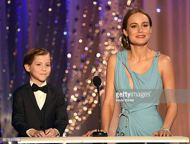 Actors Jacob Tremblay and Brie Larson speak onstage during The 22nd Annual Screen Actors Guild Awards at The Shrine Auditorium on January 30 2016 in...