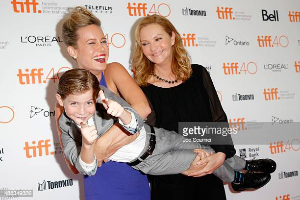 Actors Jacob Tremblay Brie Larson and Joan Allen attend the 'Room' premiere during the 2015 Toronto International Film Festival at the Princess of...