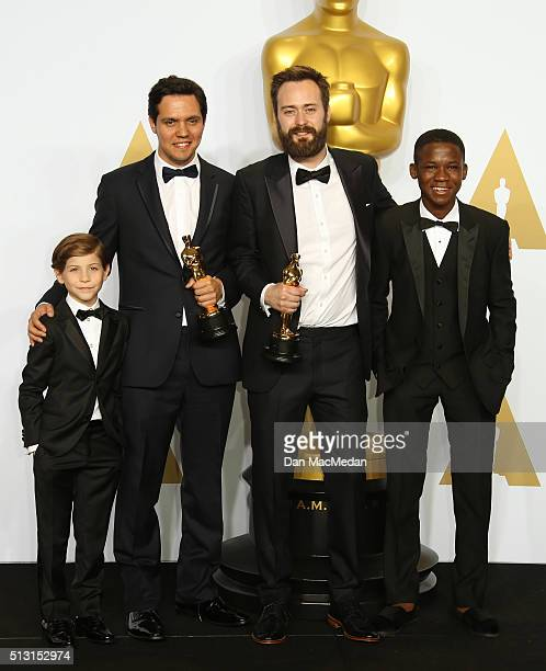 Actors Jacob Trembly , Abraham Attah and Shan Christopher Ogilvy and Benjamin Cleary, winners for Best Live Action short Film for 'Stutterer,' pose...