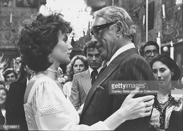 Actors Jacqueline Bisset and Anthony Quinn in a scene from the film 'The Greek Tycoon' 1978
