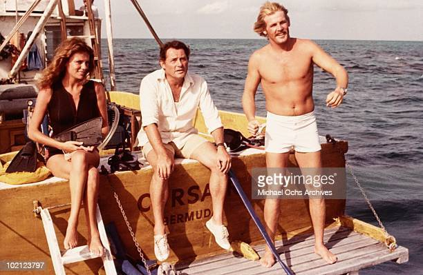 Actors Jacqueline Bisset Robert Shaw and Nick Nolte in a scene from the movie 'The Deep' in 1977 in Australia