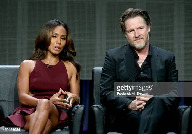 Actors Jada Pinkett Smith and Donal Logue speak onstage at the 'Gotham' panel during the FOX Network portion of the 2014 Summer Television Critics...