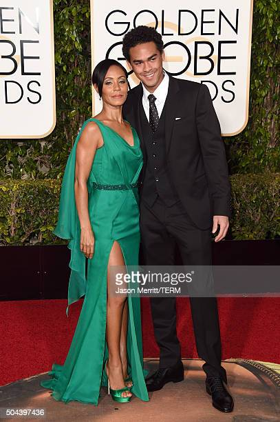 Actors Jada Pinkett Smith and Trey Smith attend the 73rd Annual Golden Globe Awards held at the Beverly Hilton Hotel on January 10 2016 in Beverly...