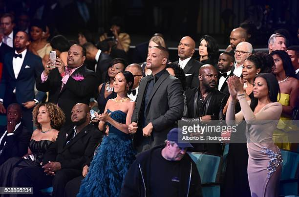 Actors Jada Pinkett Smith, Will Smith and Taraji P. Henson attend the 47th NAACP Image Awards Presented by TV One at The Pasadena Civic Auditorium on...