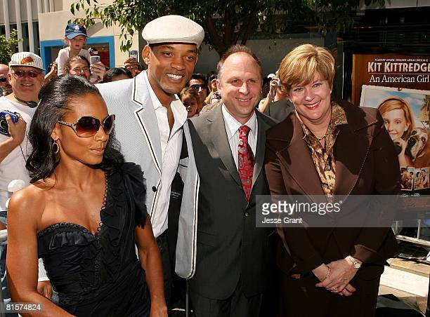 Actors Jada Pinkett Smith Will Smith Picturehouse's Bob Berney and American Girl Brands LLC president Ellen L Brothers attend the premiere of Kit...