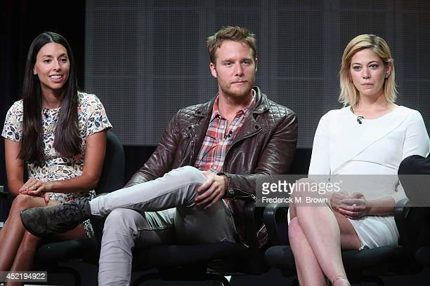 Actors Jade CattaPreta Jake McDorman and Jake McDorman speak onstage at the 'Manhattan Love Story'' panel during the Disney/ABC Television Group...
