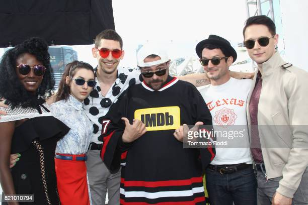 Actors Jade Eshete Hannah Marks writer Max Landis host Kevin Smith actor Elijah Wood and Samuel Barnett on the #IMDboat at San Diego ComicCon 2017 at...