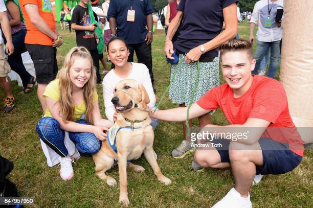 Actors Jade Pettyjohn Breanna Yde and Ricardo Hurtado attend Nickelodeon's Worldwide Day Of Play Celebration at the Nethermead in Prospect Park on...