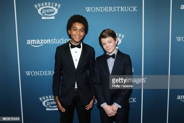 Actors Jaden Michael and Oakes Fegley attend the premiere of Roadside Attractions' Wonderstruck at Los Angeles Theatre on October 17 2017 in Los...