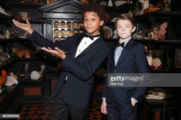 Actors Jaden Michael and Oakes Fegley attend the premiere of Roadside Attractions' Wonderstruck at the Los Angeles Theatre on October 17 2017 in Los...