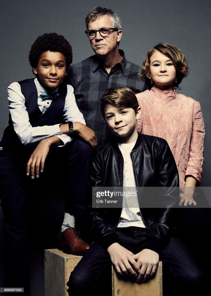 Actors Jaden Michael, Oakes Fegley, Millicent Simmonds, and director Todd Haynes from 'Wonderstruck' pose for a portrait at the 55th New York Film Festival on October 7, 2017.