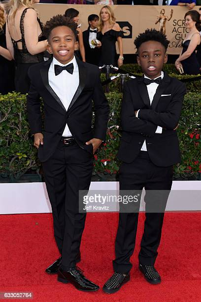 Actors Jaden Piner and Alex R Hibbert attend the 23rd Annual Screen Actors Guild Awards at The Shrine Expo Hall on January 29 2017 in Los Angeles...