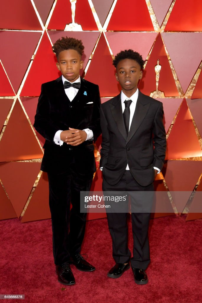Actors Jaden Piner (L) and Alex R. Hibbert attend the 89th Annual Academy Awards at Hollywood & Highland Center on February 26, 2017 in Hollywood, California.