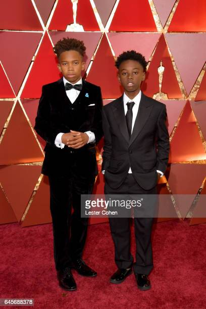 Actors Jaden Piner and Alex R Hibbert attend the 89th Annual Academy Awards at Hollywood Highland Center on February 26 2017 in Hollywood California