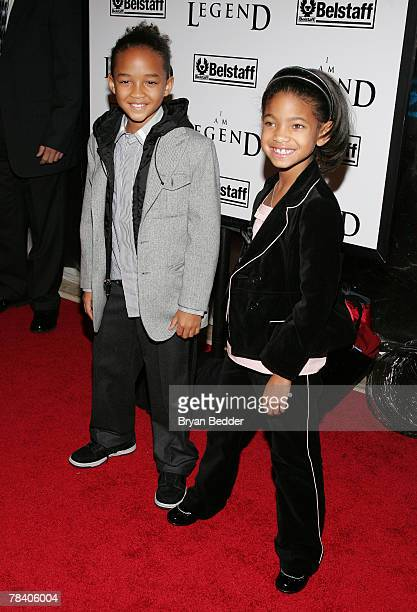 """Actors Jaden Smith and his sister Willow, son and daughter of actors Will Smith and Jada Pinkett Smith attend Warner Brothers' premiere of """"I Am..."""