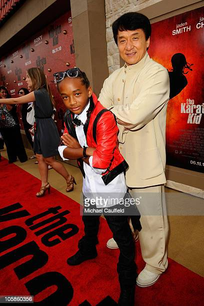 Actors Jaden Smith and Jackie Chan arrive at The Karate Kid Los Angeles Premiere at Mann Village Theatre on June 7 2010 in Westwood California