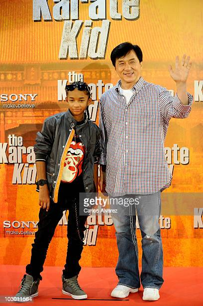 Actors Jaden Smith and Jackie Chan attend The Karate Kid photocall at Proyecciones cinema on July 21 2010 in Madrid Spain