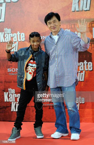 Actors Jaden Smith and Jackie Chan attend 'The Karate Kid' photocall at Proyecciones cinema on July 21 2010 in Madrid Spain