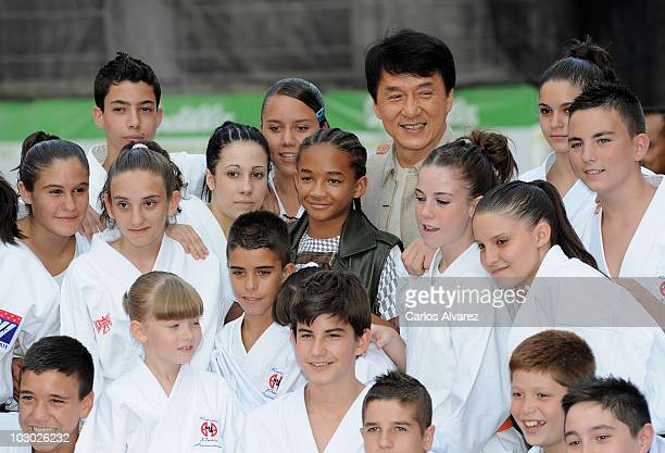Actors Jaden Smith and Jackie Chan attend The Karate Kid premiere at Callao cinema on July 21 2010 in Madrid Spain