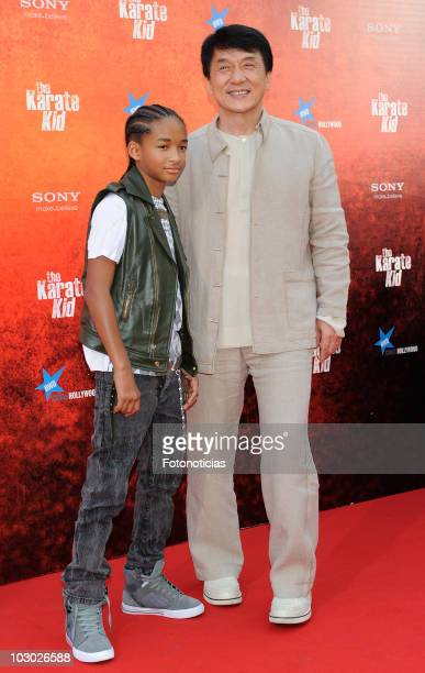 Actors Jaden Smith and Jackie Chan attends 'The Karate Kid' premiere at Callao cinema on July 21 2010 in Madrid Spain