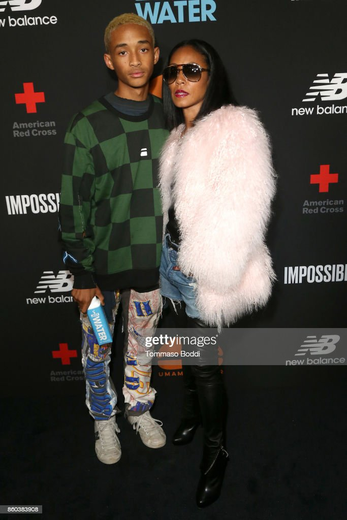 Actors Jaden Smith and Jada Pinkett Smith attend the Umami Burger x Jaden Smith Artist Series Launch Event at The Grove on October 11, 2017 in Los Angeles, California.