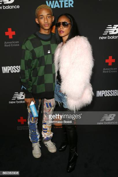 Actors Jaden Smith and Jada Pinkett Smith attend the Umami Burger x Jaden Smith Artist Series Launch Event at The Grove on October 11 2017 in Los...