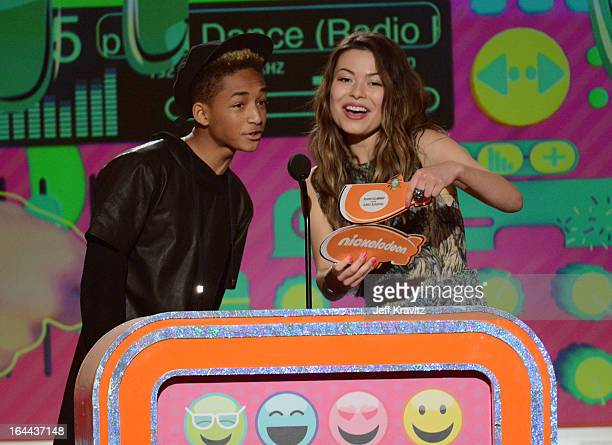 Actors Jaden Smith and Miranda Cosgrove speak onstage at Nickelodeon's 26th Annual Kids' Choice Awards at USC Galen Center on March 23 2013 in Los...