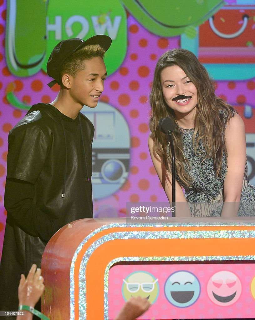 Actors Jaden Smith and Miranda Cosgrove speak onstage during Nickelodeon's 26th Annual Kids' Choice Awards at USC Galen Center on March 23, 2013 in Los Angeles, California.