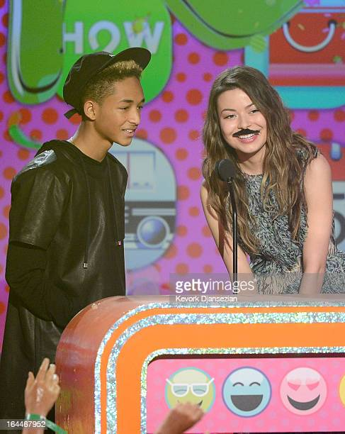 Actors Jaden Smith and Miranda Cosgrove speak onstage during Nickelodeon's 26th Annual Kids' Choice Awards at USC Galen Center on March 23 2013 in...