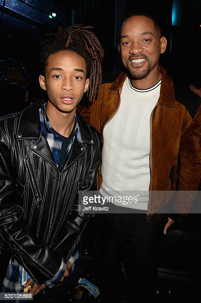 Actors Jaden Smith and Will Smith attend the 2016 MTV Movie Awards at Warner Bros Studios on April 9 2016 in Burbank California MTV Movie Awards airs...