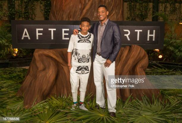 Actors Jaden Smith and Will Smith attend the After Earth photo call at The 5th Annual Summer Of Sony at the Ritz Carlton Hotel on April 23 2013 in...
