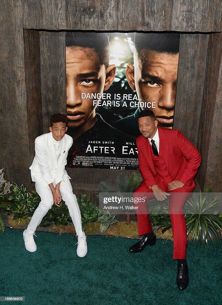 Actors Jaden Smith and Will Smith attend the 'After Earth' premiere at Ziegfeld Theater on May 29, 2013 in New York City.